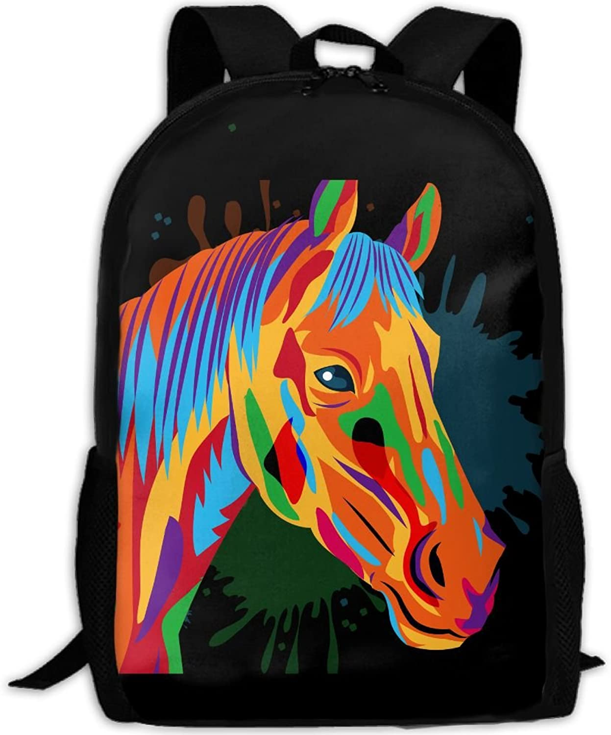 15959378b143 Adult Backpack Abstract Horse Head College Daypack Oxford Unisex ...