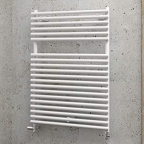 Schulte Bad-Heizkörper Wien, 80 x 60 cm, 490 Watt Leistung, Anschluss unten, alpin-weiß, Badezimmer-Heizkörper für Zweirohr-Systeme