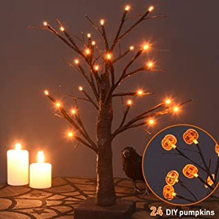 Twinkle Star 24 LED Halloween Lighted Birch Tree Battery Operated with 24 DIY Pumpkins, Indoor Home Table Best Halloween Decoration