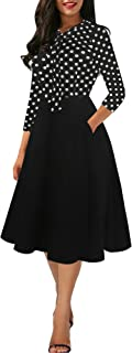 Women's Vintage Bow Tie V-Neck Pockets Casual Work Party Cocktail Swing A-line Dresses OX278