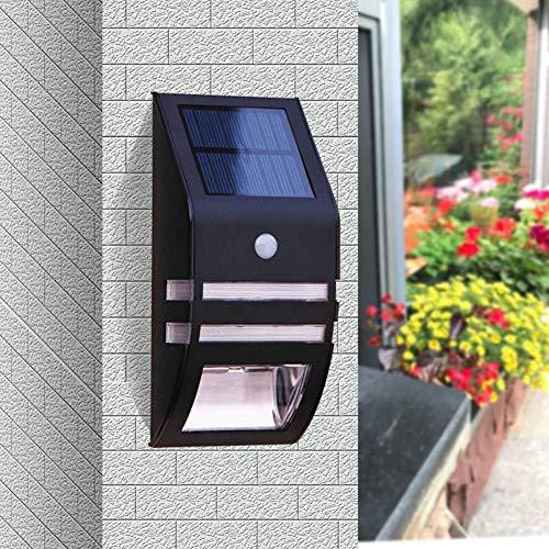Solar Treppenbeleuchtung, Außenterrasse Wasserdicht Schritt Beleuchtung, Villa Garden Wall LED Wandleuchten, Keine Verdrahtung, Menschliche Induction (Color : Black, Light Color : White)