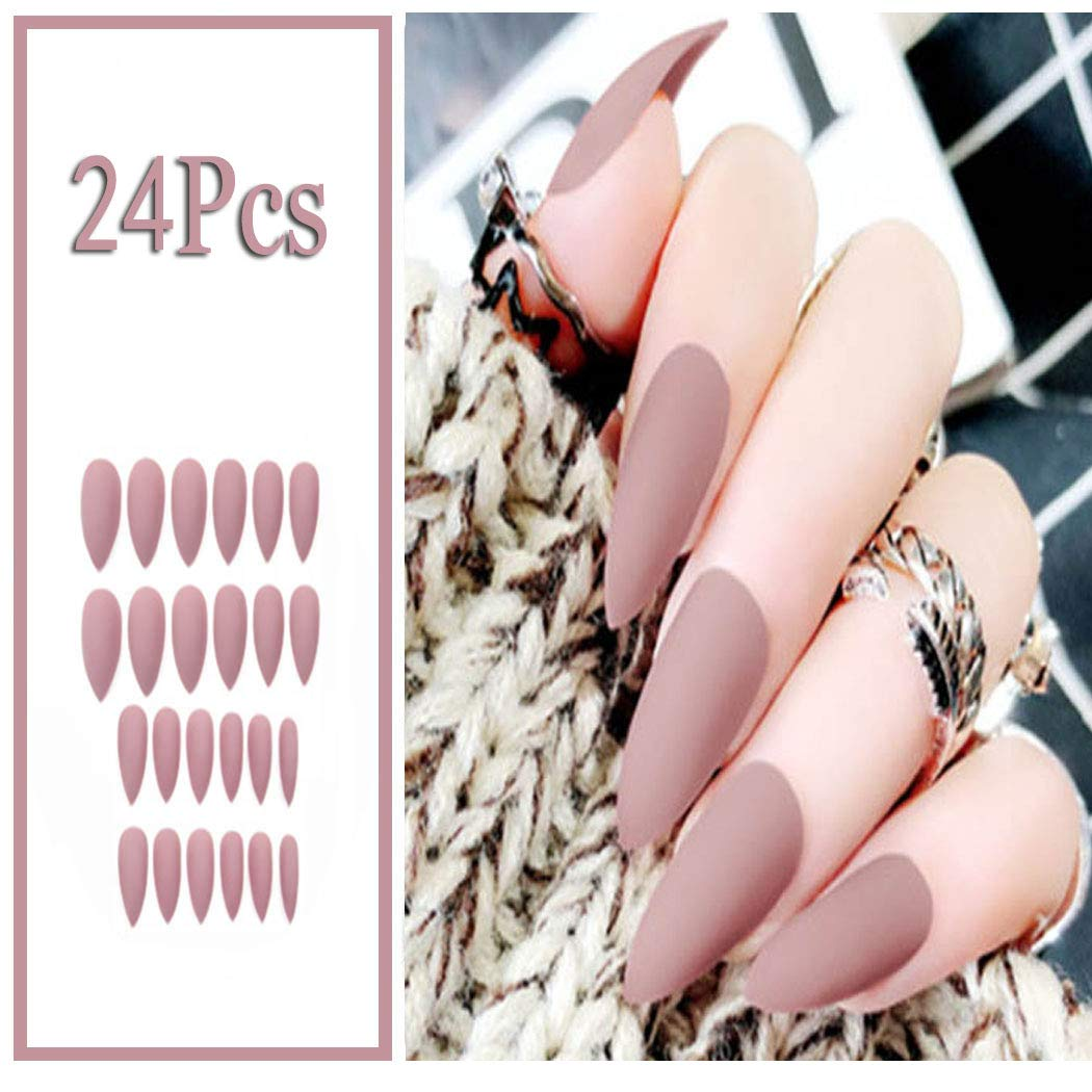 Year-end annual account Sethexy 24Pcs Pure Color Matte Frosted Sharp Now on sale Fashion Nails False