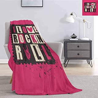 jecycleus Retro Bedding Microfiber Blanket Vintage LettersI Love Rock n Roll on Grunge Poster Music Theme Art Super Soft and Comfortable Luxury Bed Blanket W70 by L70 Inch Pink Charcoal Grey Beige