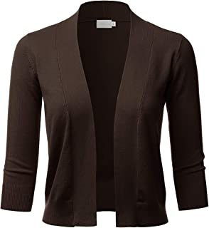 Women's Classic 3/4 Sleeve Open Front Cropped Bolero Cardigan (S~XL)