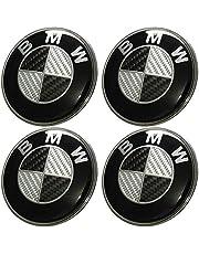 Lot de 4moyeux de roue - Centres en aluminium pour enjoliveur de jante - 68mm - Insigne BWM - Effet carbone
