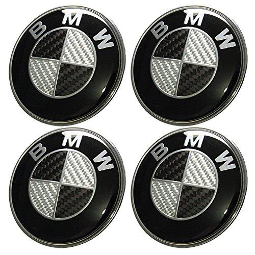 Lot de 4 moyeux de roue - Centres en aluminium pour enjoliveur de jante - 68 mm - Insigne BWM - Effet carbone