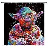 AdaCrazy Star Wars Duschvorhang Bunte Master Yoda Monster Dekoration Schwarz Stoff Bad Vorhang Wasserdicht Polyester Haken Moderne Bad Vorhang 71x71 Zoll 12 Kunststoff Haken