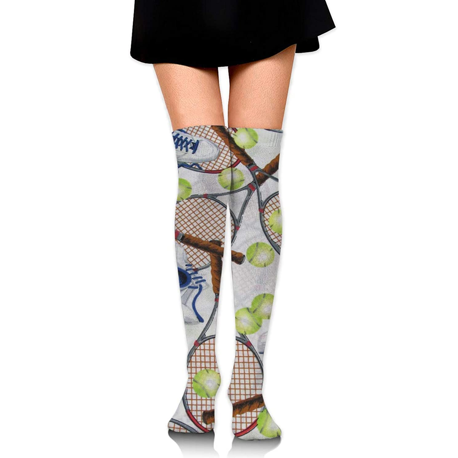 刈り取るまあアブストラクトMKLOS 通気性 圧縮ソックス Breathable Extra Long Cotton Mid Thigh High Crazy Tennis Exotic Psychedelic Print Compression High Tube Thigh Boot Stockings Knee High Women Girl