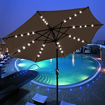 Yescom 9 FT 32LED Lights Tilt and Crank Outdoor Table Umbrellas