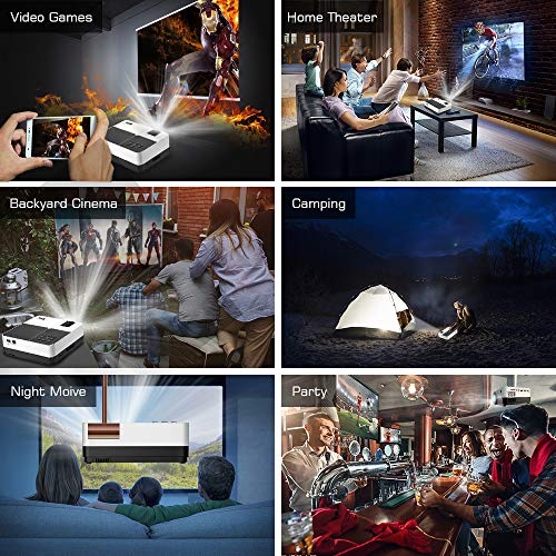Projector, 1080P and 176'' Display Outdoor Video Projector Supported, 5500Lumen Portable HD Movie Projector with 50,000 Hrs LED Lamp Life, Compatible with TV Stick, PS4, HDMI, VGA, TF, AV and USB