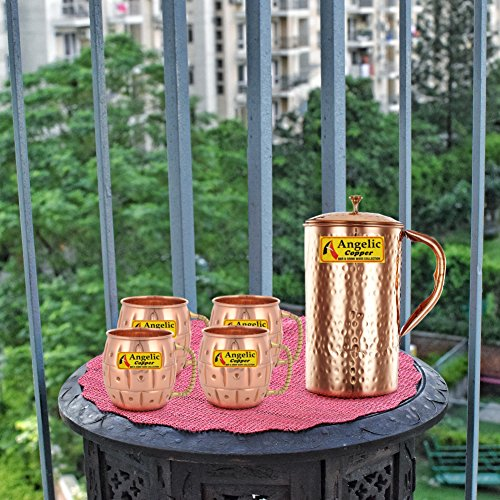 Angelic Copper Handmade Copper Jug with Designer Cup Set, Set of 4, Brown