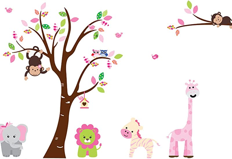 Cartoon Cute Monkeys Big Trees Removable Wall Stickers Home Decor Decals For Children S Room Nursery Set Of 2 Sheets Animal Tree