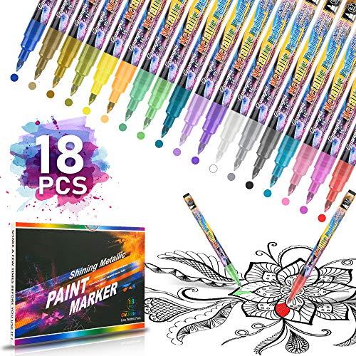 Marker Stifte18 Farben, 0.7mm Premium Stifte für Kunststoff Wasserfest Set für DIY Steine Bemalen, Holz, Leinwand, Fotoalbum, Glas