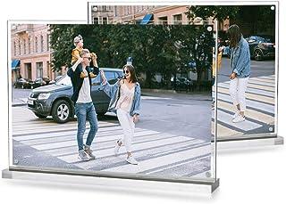 Marcos de Fotos de Sobremesa, A5, Metacrilato, Pantalla Magnética Desmontable con Imanes, 100% Transparente, 21 * 16 * 4.5cm, 2 Unidades