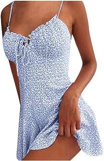 Sommerkleid Damen Casual Sexy Rückenfrei Minikleid Blumen Spaghettiträger Strandkleider Ärmellos Kurz Kleider V-Ausschnitt Schöne Kleider