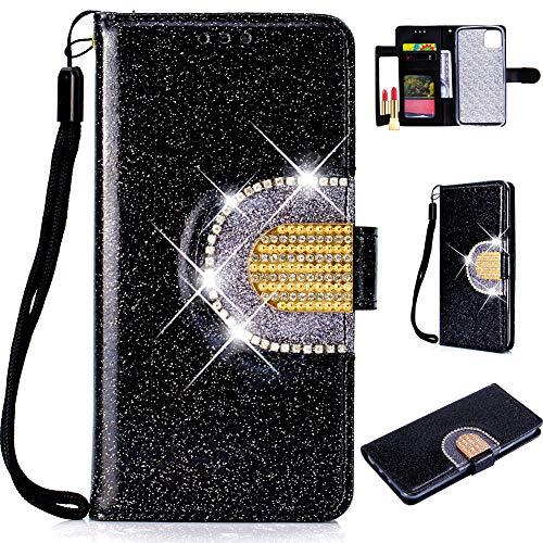 Glitzer Leder Hülle für Samsung A51,Bling Glitter Diamond Musterg Slim Retro Flip Wallet Stand Funktion Bookstyle Karteneinschub Magnetverschluss