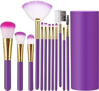 Elisel Makeup Brush Sets 12 Pcs Makeup Brushes Travel makeup brush set Eye shadow brush, foundation brush, blush brush and other cosmetic tools (Purple-Gold)