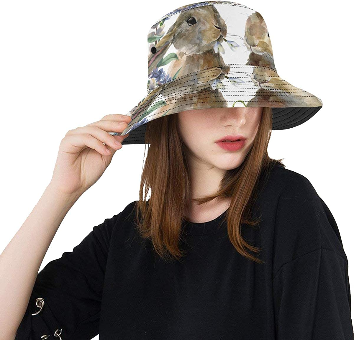 Ladies Free shipping anywhere in the nation Sun Hat Watercolor Easter Hand Summer Wreath Floral Bunny Super-cheap