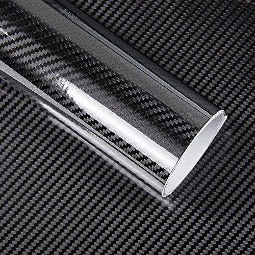 2 Rollen Folie Carbon Effekt 5D glänzend Aufkleber für Motorrad Auto Tuning Fahrrad Auto Roller Mofa 60 x 100 cm