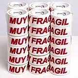 (36x) Cinta Adhesiva Muy Frágil | Precintos Embalaje de Cajas | Lote de 36 uds.