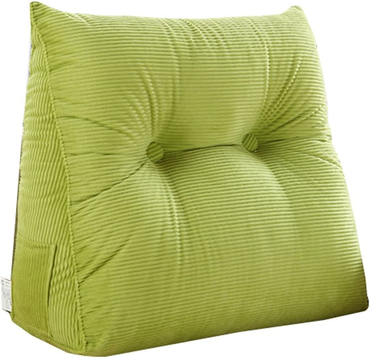 DDSS Bed cushion Bedside Triangular Cushion Large Back Bed Tatami Sofa Cushions Waist Pillow Washable 3 colors  -  (color   Green, Size   60cm20cm50cm)