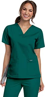Landau Women's Durable and Comfortable 4-Pocket V-Neck Scrub Top Shirt, Hunter, Small