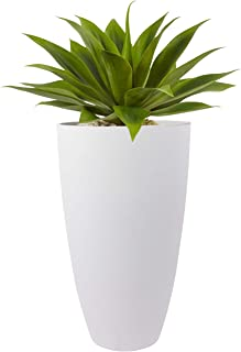 LA JOLIE MUSE Tall Planters Outdoor Indoor - 20 inch Modern White Flower Pots with Drainage Holes for Balcony Garden Patio...