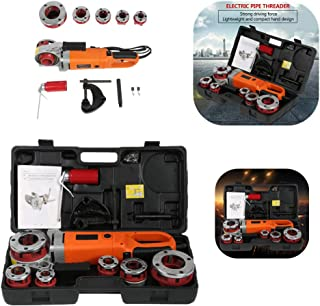 Electric Pipe Threader, Portable Handheld Electric Pipe Threader Threading Machine with 6 Dies(#1)