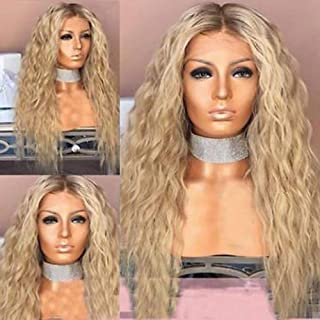 QD-Tizer Ash Blonde Hair Loose Curly Synthetic Lace Front Wigs Middle Deep Part Long Curly Lace Front Blonde Wigs for Fashion Women 24 inch Ombre Blonde Curly Wig