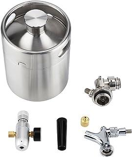 Fdit Keg Bière Mini Acier Inoxydable avec Robinet Pressurisé Maison Brassage Craft Beer Dispenser System 2L