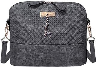 Everpert Women Crossbody Bag Pu Plaid Deer Pendant Shoulder Bag