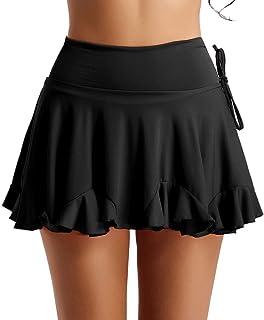 inlzdz Damen Mädchen lateinischer Tanzrock hohe Taille kurz ausgestellter Skater Tennis Rock mit Innenshorts