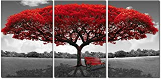 Sponsored Ad - Red Tree Canvas Wall Art - Abstract Flame Tree Wall Decor Black White Picture Prints - Triptych Maple Natur...