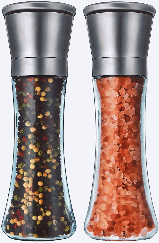 Salt and Pepper Grinder Set Black Manual Max 57% OFF of Refillable Max 86% OFF 2