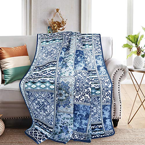 NEWLAKE Quilted Throw Blanket for Bed Couch Sofa, Blue...