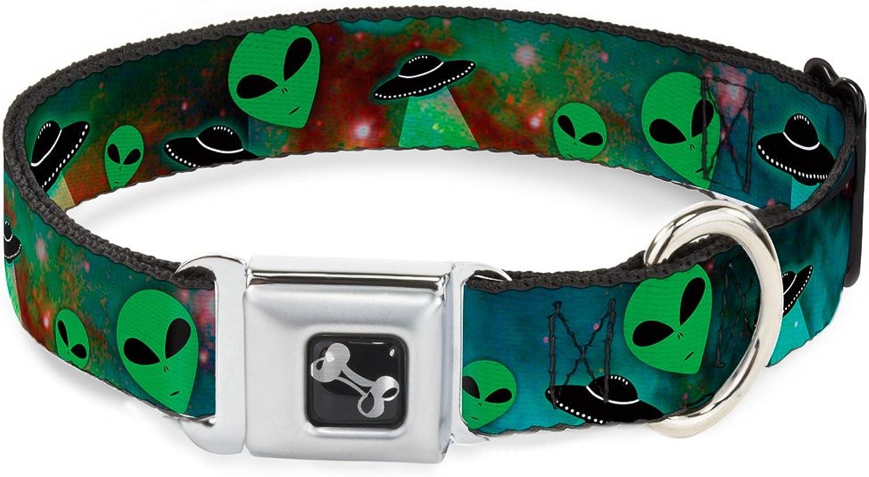 BuckleDown DCW30163WM Dog Collar Seatbelt Buckle, Aliens & UFO's Galaxy Green Black White, 16 23