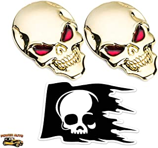 Power Auto Metal Skull Car Emblem - 2 pcs. Peel-N-Stick Plus Skull Decal (Gold)