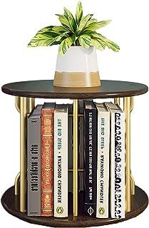 Estanterías para CD DVD Organizador de estantería redonda de escritorio - Estante de almacenamiento giratorio de madera de...