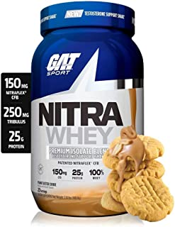 GAT Sport Nitra Whey Testosterone Support Shake, Peanut Butter Cookie, 23 Servings