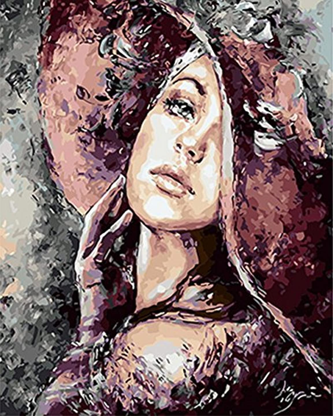 DIY Oil Painting Paint by Number Hand Paintworks 16X20 inches Fashion Girl,Without Frame