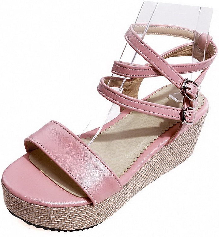 WeenFashion Women's Soft Material Buckle Open-Toe Kitten Heels Solid Sandals