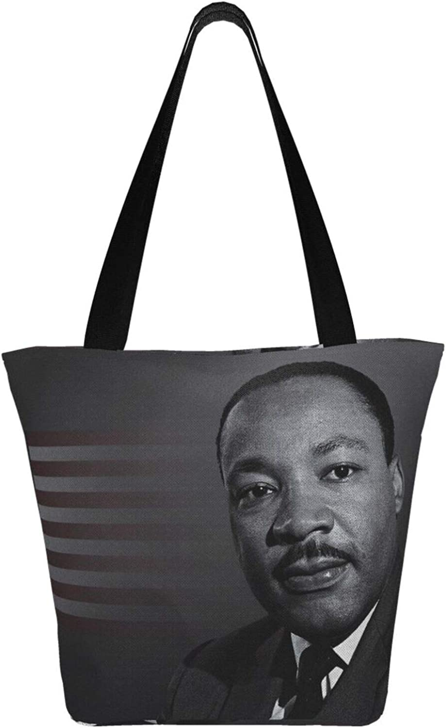 Martin Luther King Day Patriot Themed Printed Women Canvas Handbag Zipper Shoulder Bag Work Booksbag Tote Purse Leisure Hobo Bag For Shopping