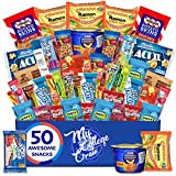 My College Crate Microwave Snack Care Package - 50 Piece Bulk Variety Pack Box for Adults and Kids with Ramen Mix, Popcorn, Mac n Cheese, Assorted Chips, Granola Bars and Candy