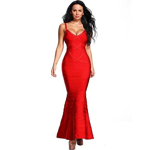 919c019918 Hego Women s V-Neck Backless Fishtail Bandage Formal Evening Dresses Long  H2082
