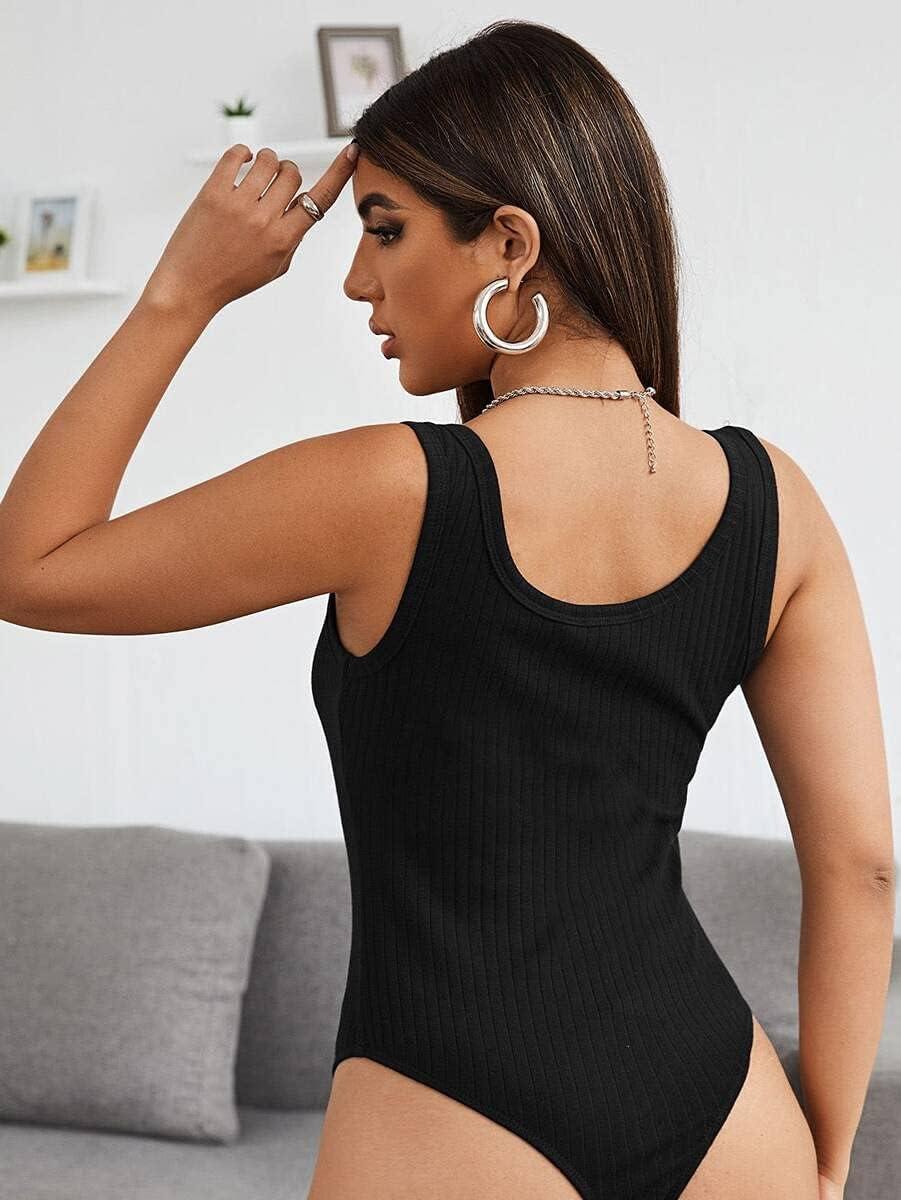 JYMBK Lace Jumpsuit Notched Neck Rib-Knit Bodysuit (Color : Black, Size : S)