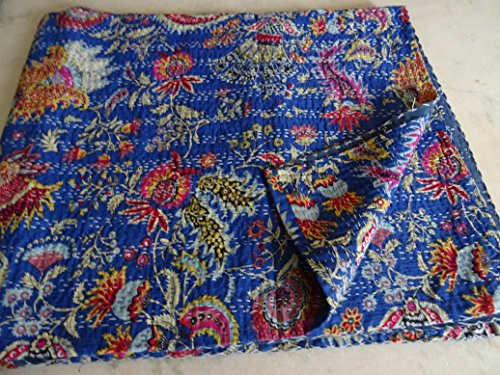 HANDICRAFTOFPINKCITY Bleu Indigo Kantha Couvre-Lits Taille Queen Kantha Couvre-lit