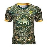 LAIDAN Maillot Rugby Homme South Africa Édition Commémorative du 100E Anniversaire Maillot De Rugby Fan Tshirt Loisirs Manches Courtes Sweat Respirant en Coton Décontracté,Jaune,XXL