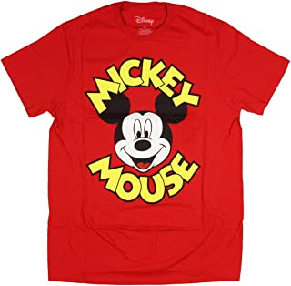 Disney Men's Mickey Mouse Classic Character Face And Script Name Tee Shirt Vintage Retro T-Shirt