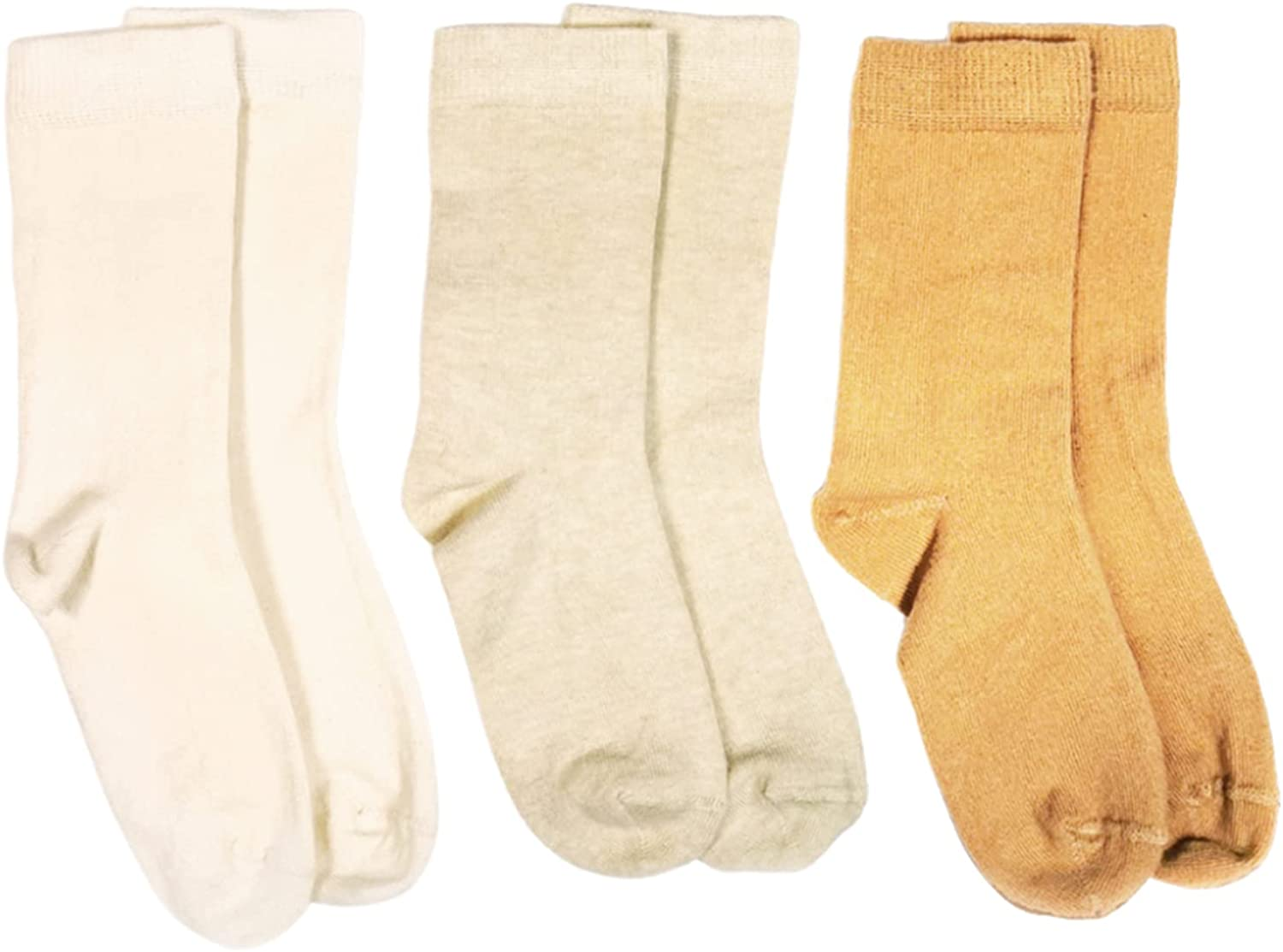 Q for Quinn 3 Count Organic Pure No Dye Toddler, Baby, Kids Socks | 3 Natural Colors
