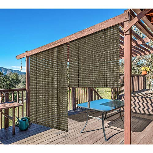 Windscreen4less Exterior Roller Shade Blinds Outdoor Roll Up Shade for Deck Back Yard Pergola Balcony Patio Porch 6'W x 6'L Hollow Out Brown